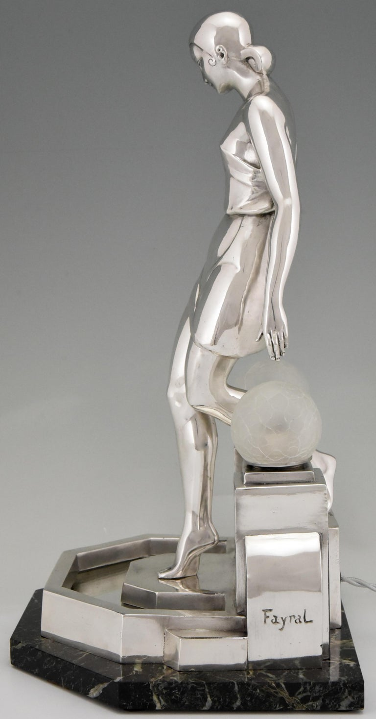 Mid-20th Century Art Deco Silvered Lady Lamp Nausicaa Fayral Pierre Le Faguays for Max Le Verrier For Sale
