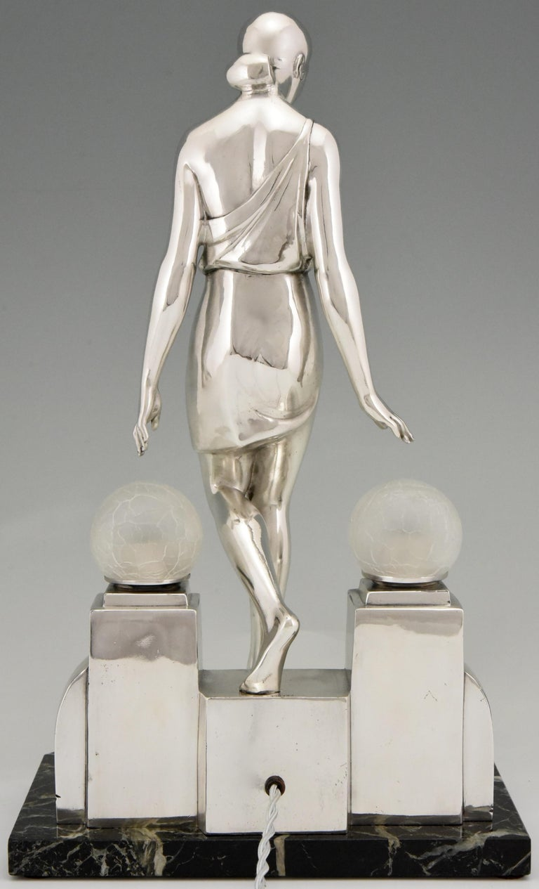 Marble Art Deco Silvered Lady Lamp Nausicaa Fayral Pierre Le Faguays for Max Le Verrier For Sale