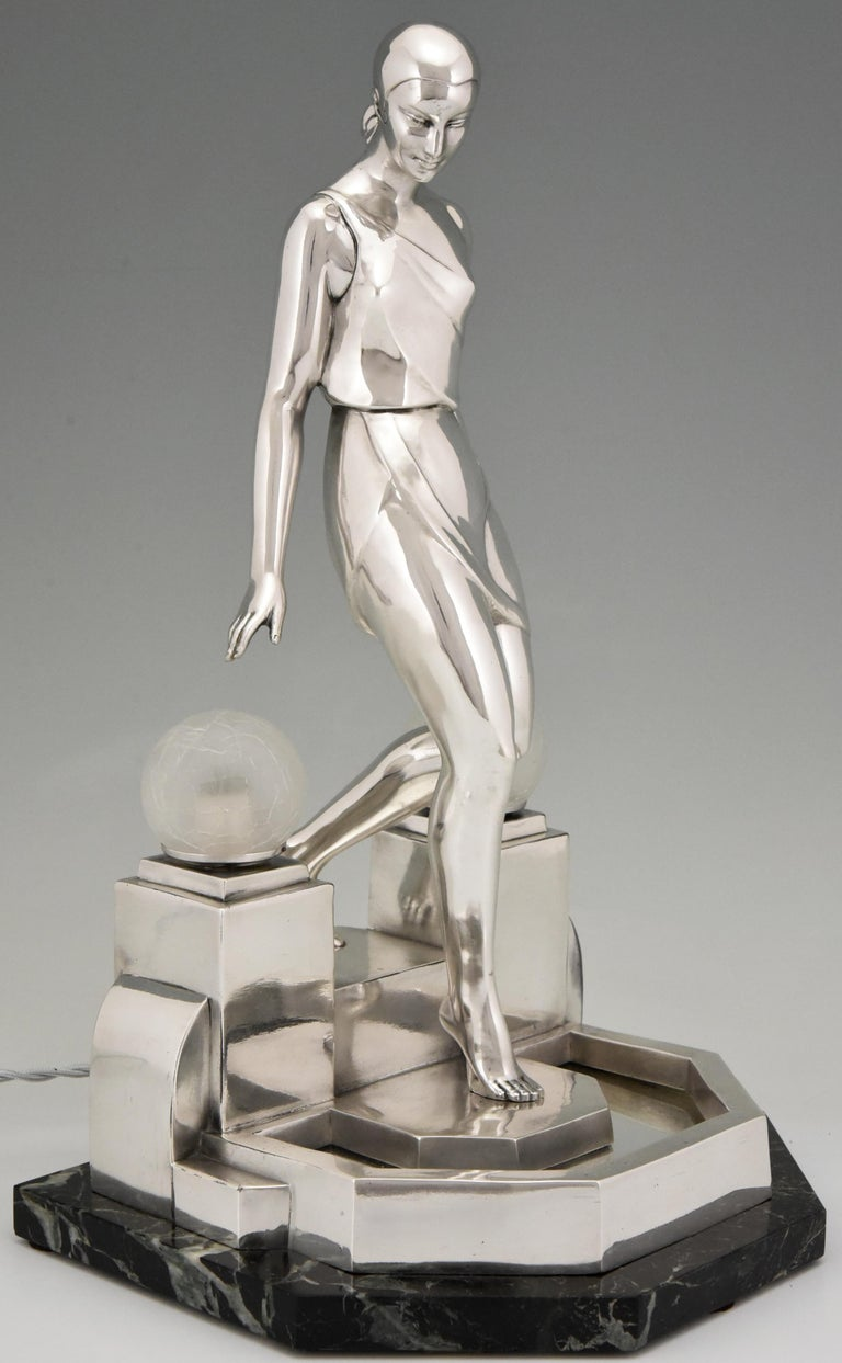 Art Deco Silvered Lady Lamp Nausicaa Fayral Pierre Le Faguays for Max Le Verrier For Sale 2