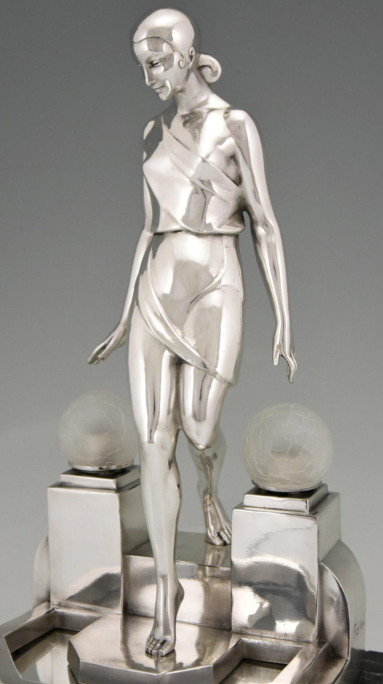 Art Deco Silvered Lady Lamp Nausicaa Fayral Pierre Le Faguays for Max Le Verrier For Sale 3