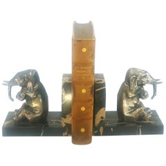 Art Deco Silvered Pair of Elephant Bookends