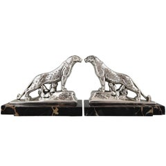 Art Deco Silvered Panther Bookends Maurice Frecourt, France, 1930