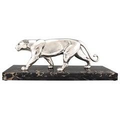 Art Deco Silvered Panther Sculpture Alexandre Ouline, France, 1930