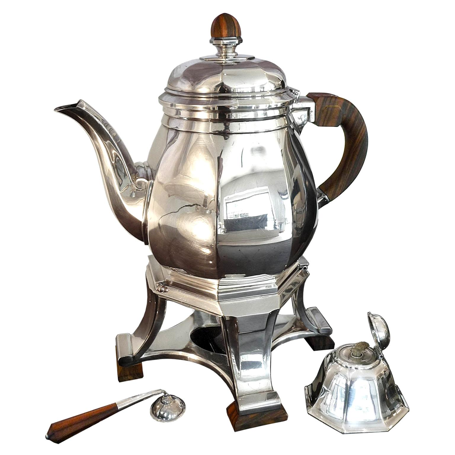 Art Deco Silvered Teapot and Warmer by Gustave Keller, Paris, 1930s