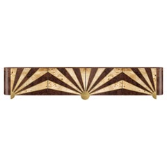 Art Deco Sinatra Media Console in Walnut and Poplar Root, Brass