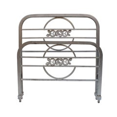 Art Deco Single Chrome Bed Headboard and Foot Part, 1930s