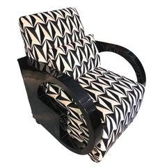Art Deco Single Club Chair, Black Polish, France circa 1930