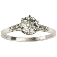 Art Deco Single Stone Diamond Ring, 0.84 Carat