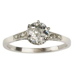 Art Deco Single Stone Diamond Ring 0.84 Carat