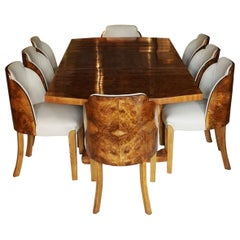 Art Deco Six-Eight Seater Dining Suite English, Circa 1930