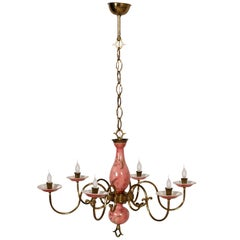 Art Deco Six-Light Florence Chandelier Gold Decorated Porcelain with Gilt Brass