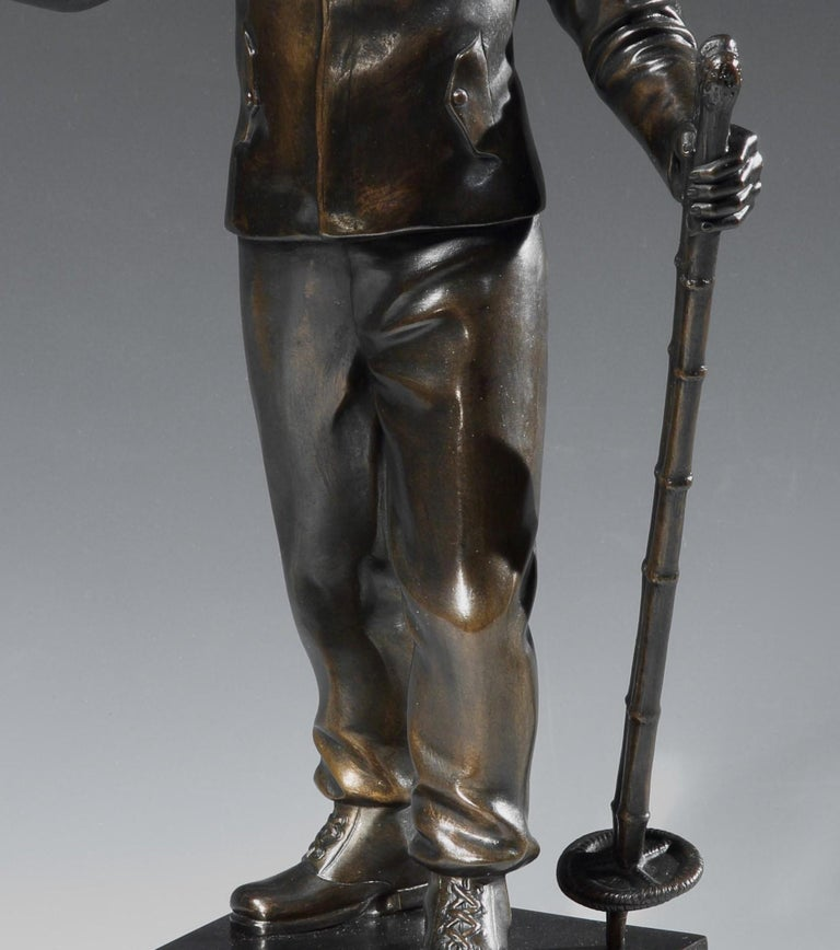 Art Deco Ski Bronze by Hans Schwegerle, circa 1930 In Good Condition For Sale In London, GB
