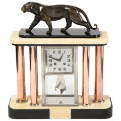 Art Deco Skyscraper Bronze, Alabaster, Chrome & Copper Panther Mantel Clock