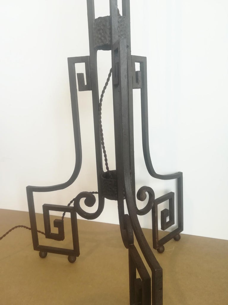 Art Deco Skyscraper Floor Lamp Cast Iron Eiffel Style France Early 20th Century For Sale 11