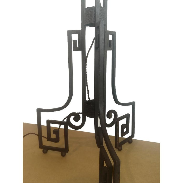 French Art Deco Skyscraper Floor Lamp Cast Iron Eiffel Style France Early 20th Century For Sale