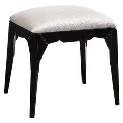 Art Deco Skyscraper Style Black Lacquer Bench in Platinum Holly Hunt Fabric