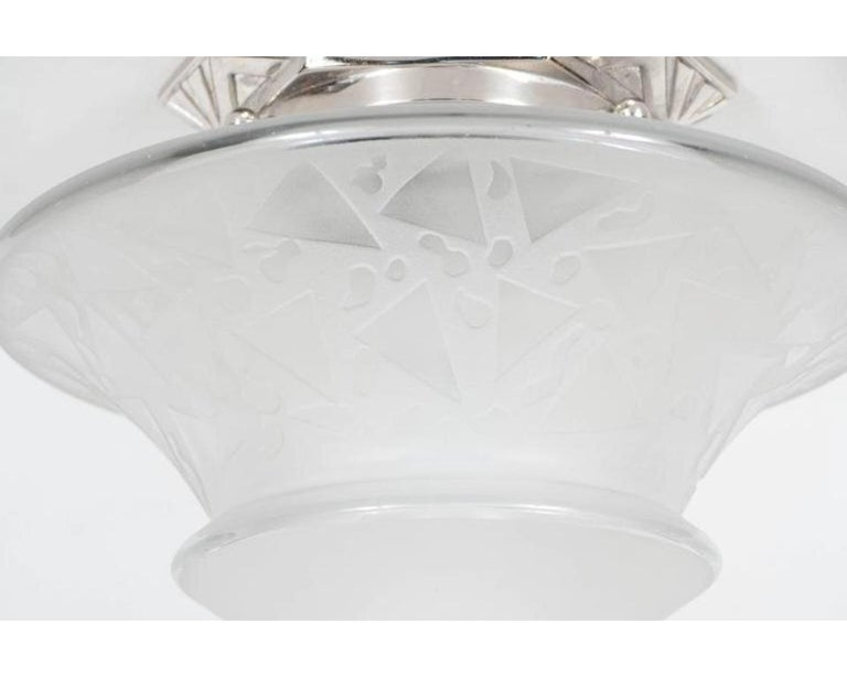 French Art Deco Skyscraper Style Frosted Glass Chandelier with Nickeled Fittings For Sale