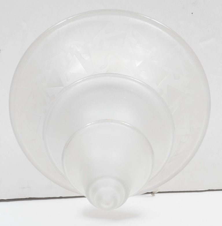 Art Deco Skyscraper Style Frosted Glass Chandelier with Nickeled Fittings In Excellent Condition For Sale In New York, NY