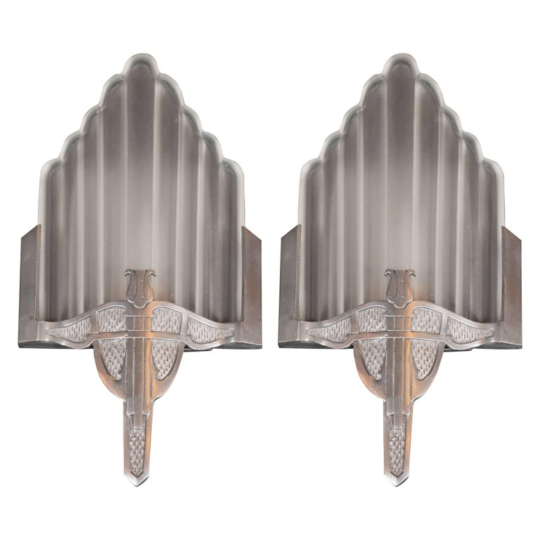 Art Deco Skyscraper Style Machine Age Nickelled Bronze and Frosted Glass Sconces