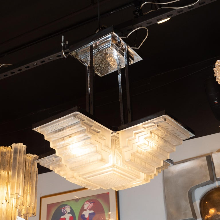 Art Deco Skyscraper Style Nickel and Frosted Glass Chandelier Signed by Sabino In Excellent Condition For Sale In New York, NY