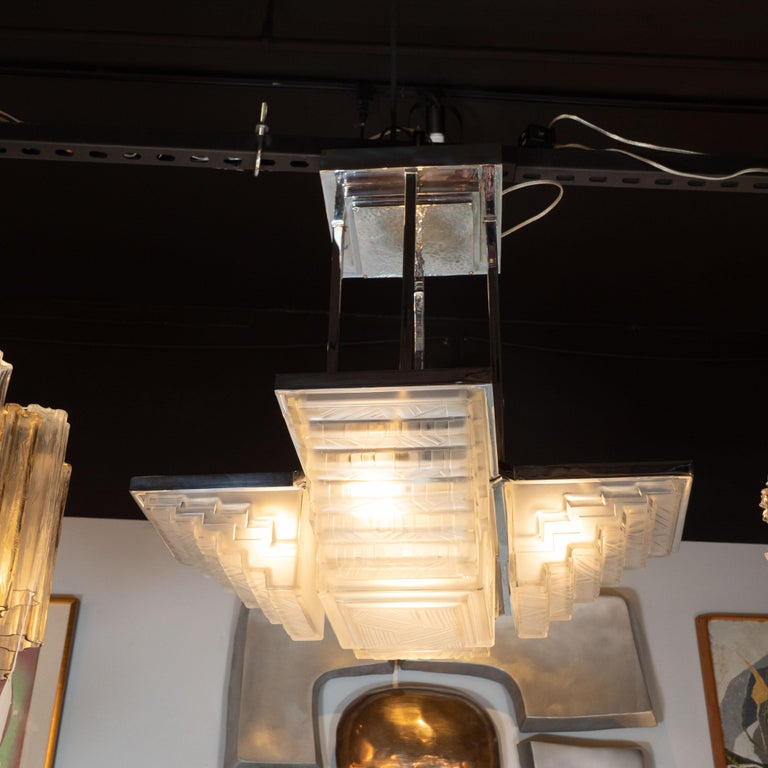 Art Deco Skyscraper Style Nickel and Frosted Glass Chandelier Signed by Sabino For Sale 2