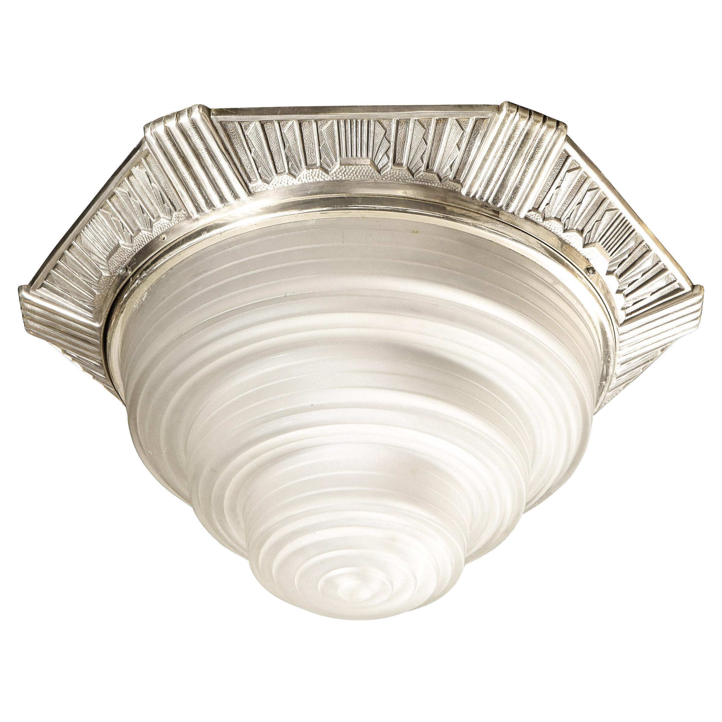 Art Deco Skyscraper Style Silvered Bronze & Channeled Glass Semi Flush Mount