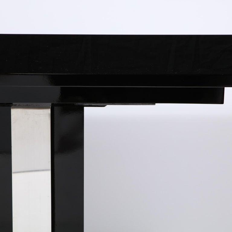 American Art Deco Skyscraper Style Streamlined Lacquer & Chrome Console Table For Sale