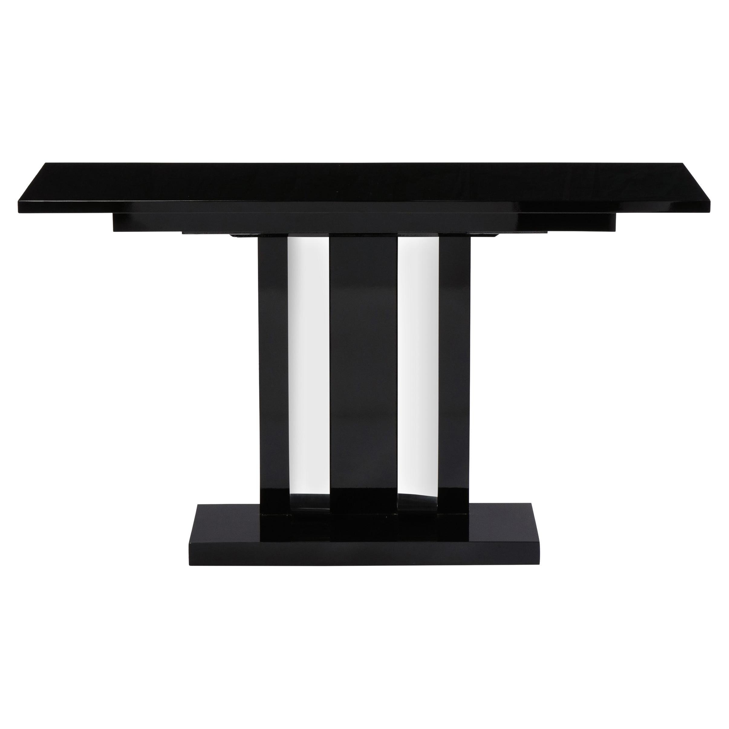 Art Deco Skyscraper Style Streamlined Lacquer & Chrome Console Table