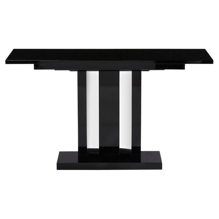 Art Deco Skyscraper Style Streamlined Lacquer & Chrome Console Table For Sale