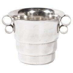 Art Deco Skyscraper Style Streamlined Machine Age Silver Plate Ice Bucket