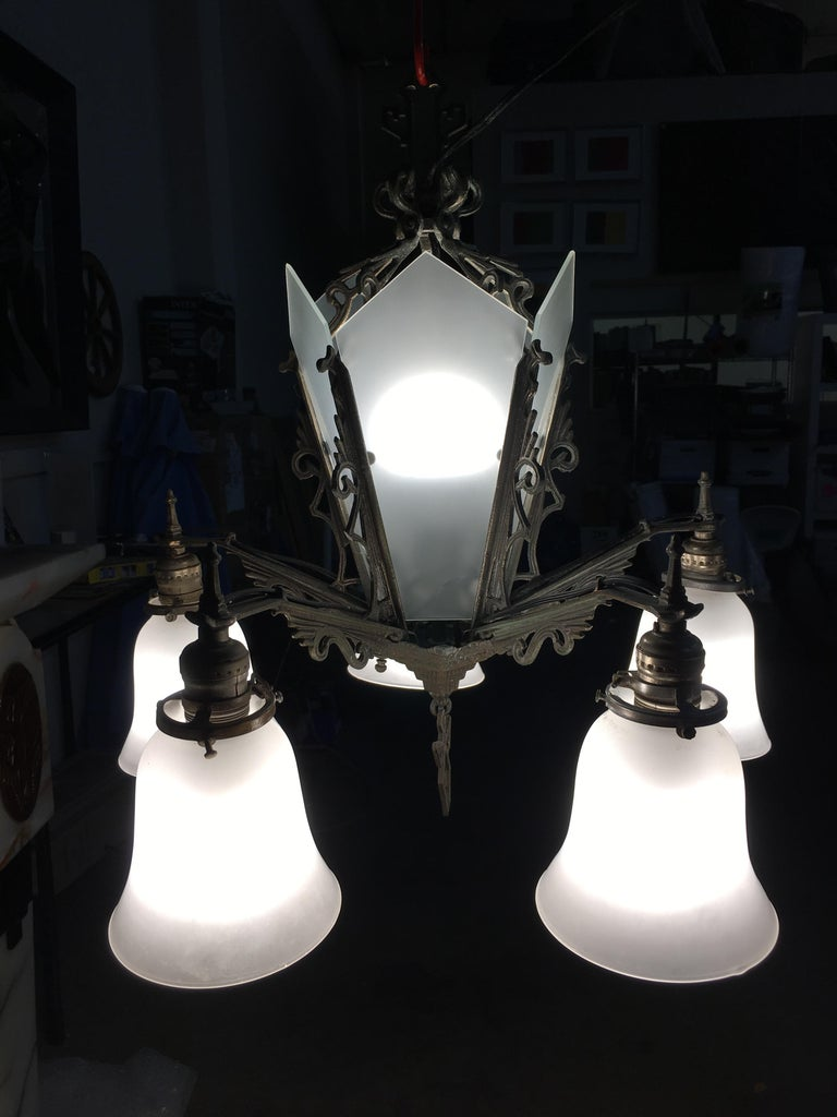 American Art Deco Slat Glass Hanging Light Chandelier with Geometric Details For Sale