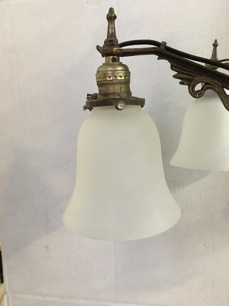 Art Deco Slat Glass Hanging Light Chandelier with Geometric Details In Excellent Condition For Sale In Van Nuys, CA