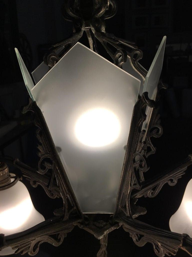 Metal Art Deco Slat Glass Hanging Light Chandelier with Geometric Details For Sale