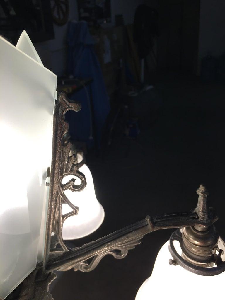 Art Deco Slat Glass Hanging Light Chandelier with Geometric Details For Sale 2