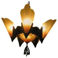 Art Deco Slip Shade Amber Six-Light Chandelier