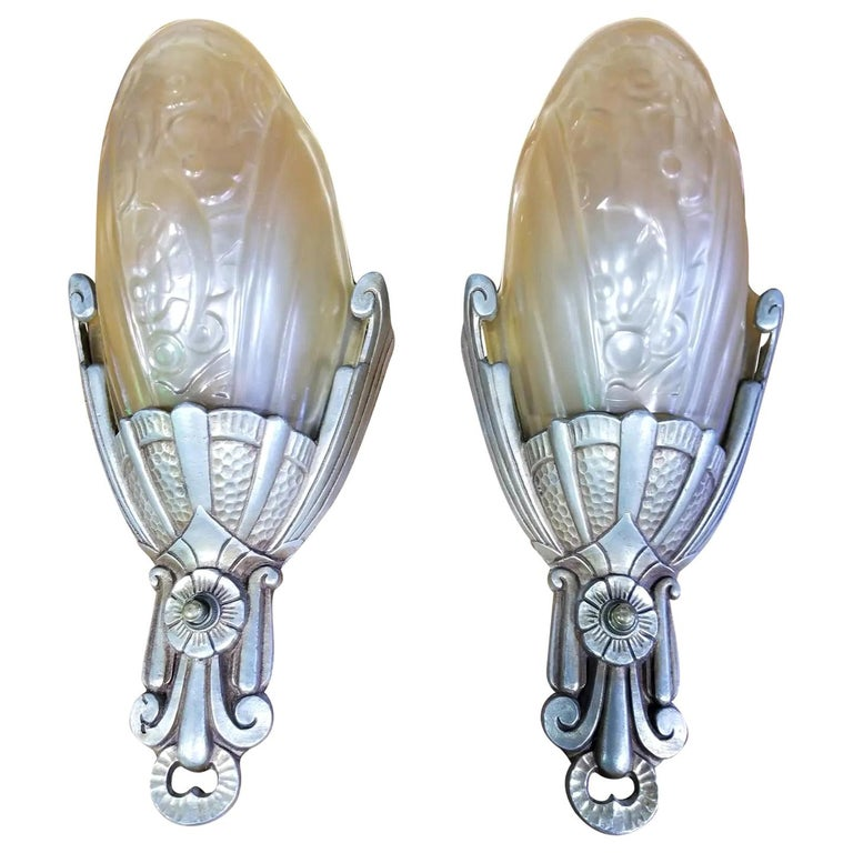Art Deco Slip Shade Wall Sconces, a Pair For Sale