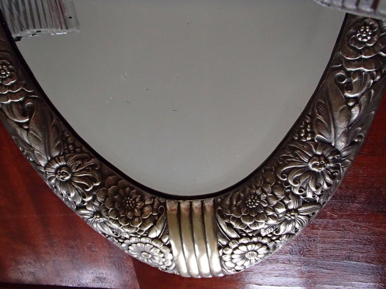 Art Deco Small Floral Brass Wall Mirror with Pair of Lights For Sale 5