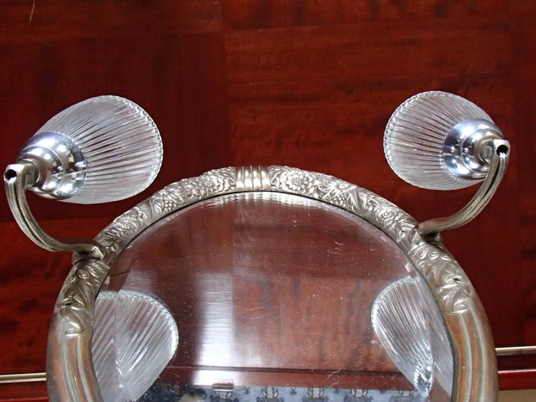 Art Deco Small Floral Brass Wall Mirror with Pair of Lights For Sale 6