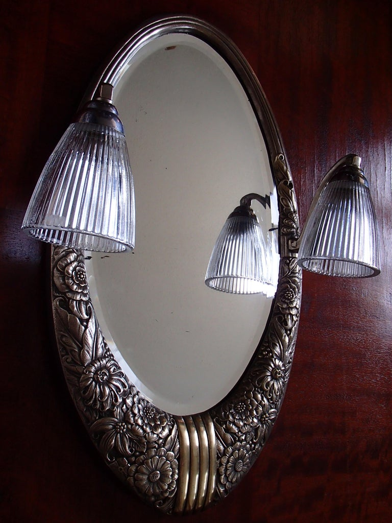 French Art Deco Small Floral Brass Wall Mirror with Pair of Lights For Sale