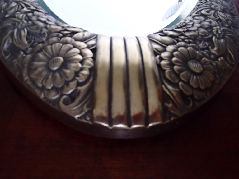 Art Deco Small Floral Brass Wall Mirror with Pair of Lights For Sale 2