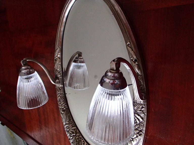 Art Deco Small Floral Brass Wall Mirror with Pair of Lights For Sale 3