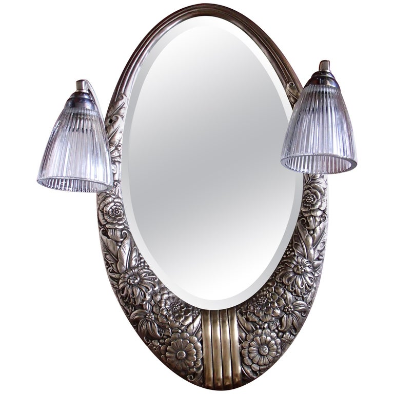 Art Deco Small Floral Brass Wall Mirror with Pair of Lights For Sale