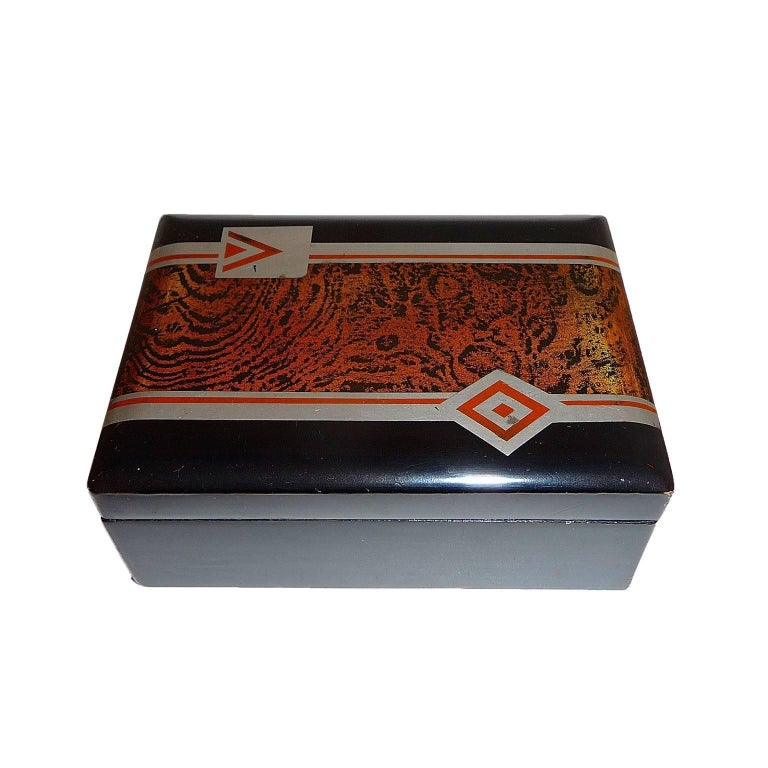 French Art Deco Small Lacquered Box, France, circa 1930 For Sale