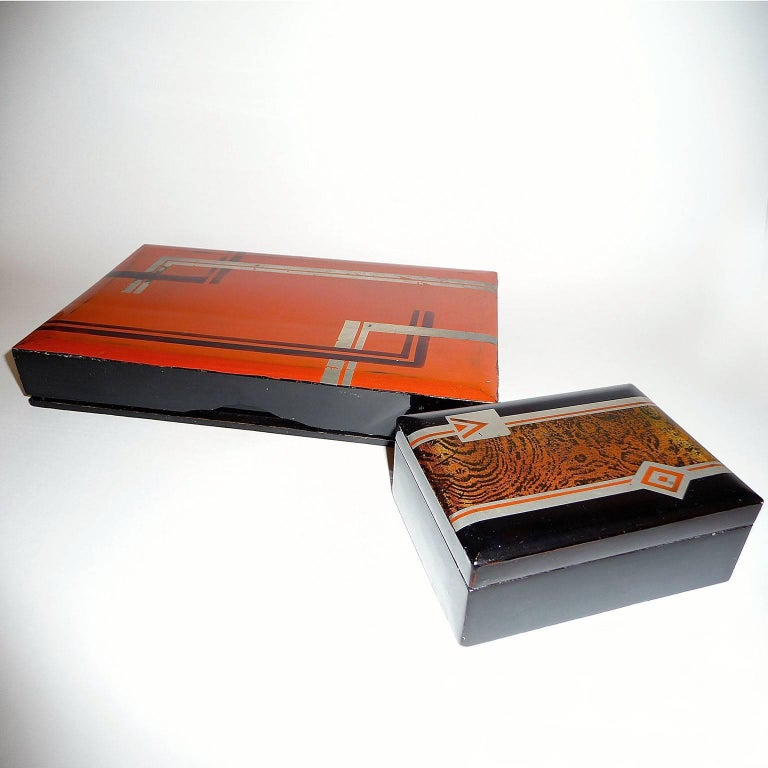 Wood Art Deco Small Lacquered Box, France, circa 1930 For Sale