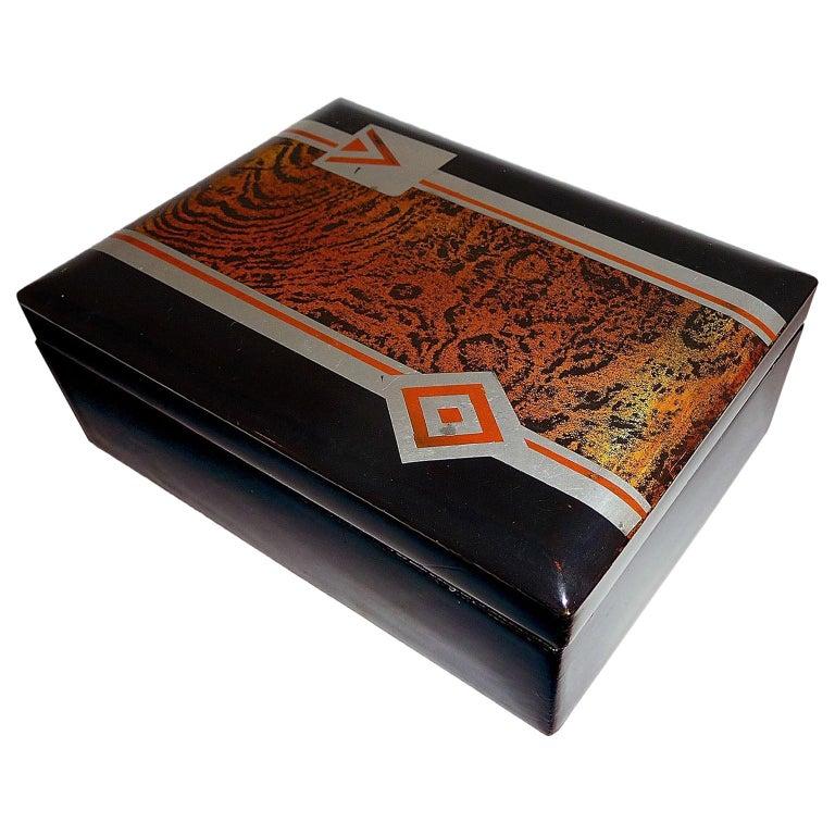 Art Deco Small Lacquered Box, France, circa 1930 For Sale