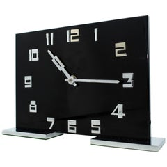 Art Deco Smiths Black Acrylic and Chrome 8 day Mantel Clock