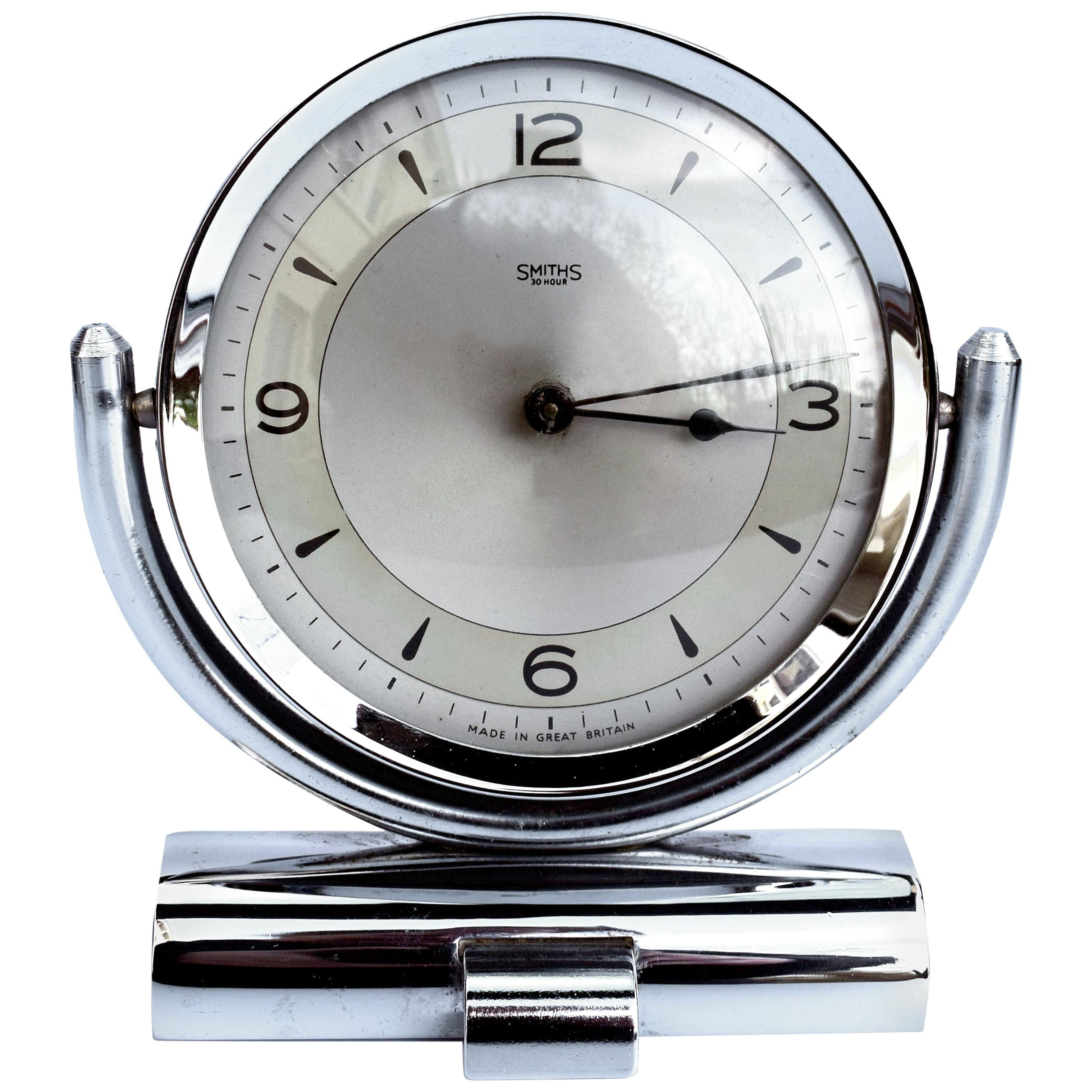 Art Deco Smiths Chrome Table Clock, circa 1930