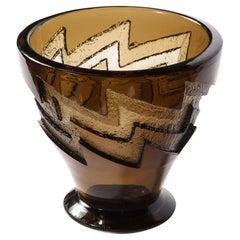 Art Deco Smoked Glass Vase with Recessed Molded Zig Zag Motif Signed Daum Nancy
