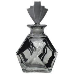 Art Deco Smokey Grey and Black Enamel Perfume Bottle