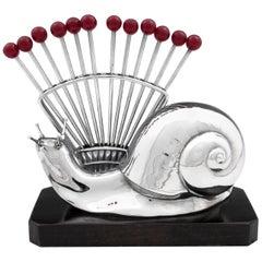 Art Deco Snail Cocktail Stick Holder, circa 1935